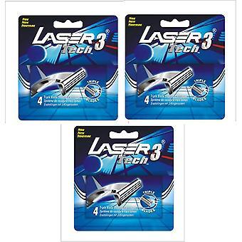 12 Cartuchos Laser Tech3 Ajuste Gillette Sensor 3 Razor Blade Blade Recargas
