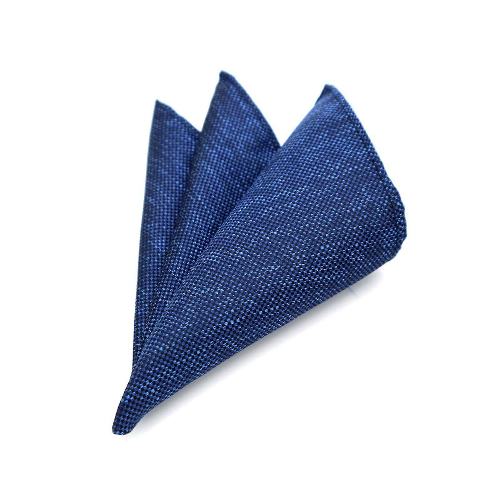 Tweed blue thick stitch weave heavy pocket square hanky