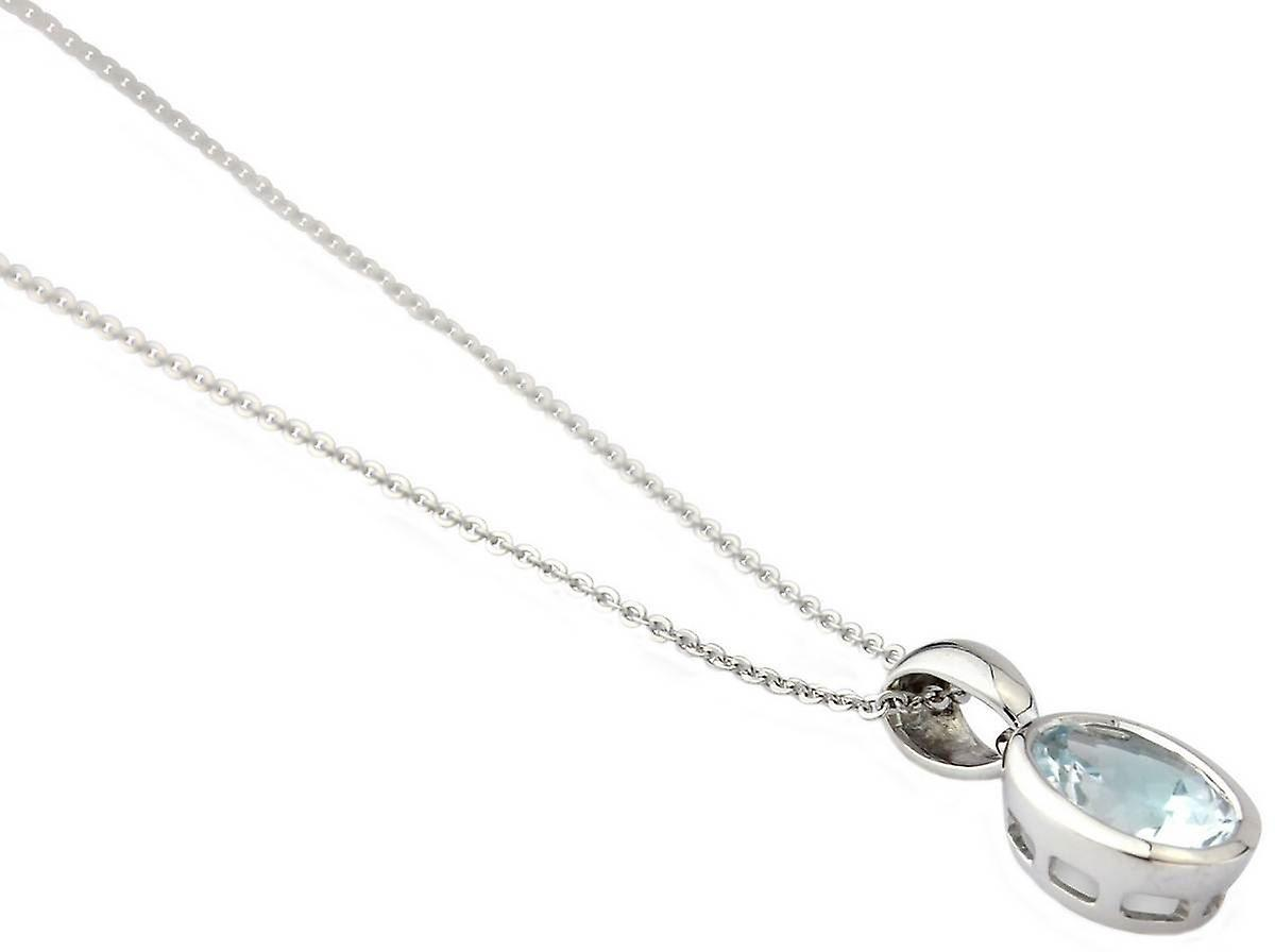 Mark Milton Aquamarine Oval Pendant - Silver/Blue