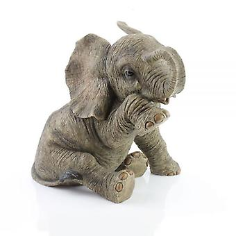 28Cm Resin Baby Elephant Sitting Teardrop Home Decoration Ornament Figurine