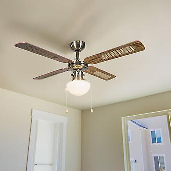 QAZQA Industrial ceiling fan with lamp 100 cm wood - Wind