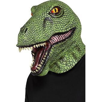 Dinosaur Latex Mask Green Full Overhead, Party Animals Fancy Dress, One Size