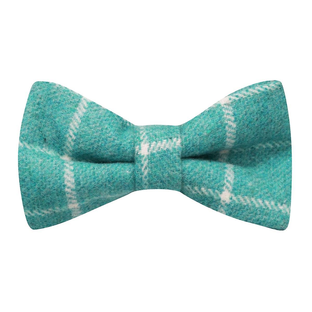 Cyan Birdseye Check Bow Tie