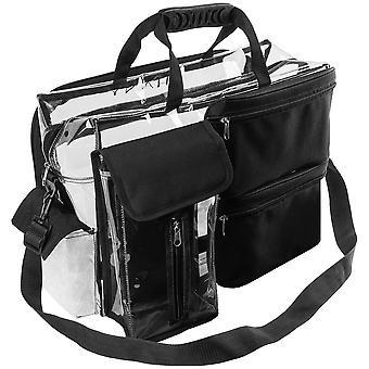 取り外し可能なコンパートメント付きのシャニートラベルメイクアップアーティストバッグ - 取り外し可能なポケット付きのクリアトートバッグ - メイクアップオーガナイザー - クリア/ブラック