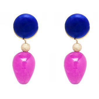 Orecchini Gemshine blu lapis lazuli, rosa rosa giada pietra goccia placcato