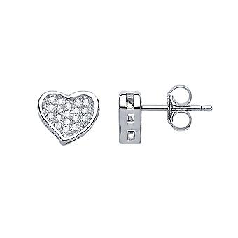 Jewelco London Ladies Rhodium Plated Sterling Silver white round brilliant cubic Zirconia Pave Love Heart Stud Earrings