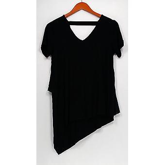 Lisa Rinna Colección Top V-Neck con detalle de espalda de gasa negro A303168