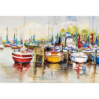 Paradise Yacht Club II Sailboats Fabric Placemat