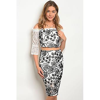 Wit zwarte top & rok set