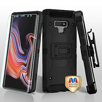 MYBAT Black/Black 3-in-1 Kinetic Hybrid Case Combo (w/ Holster)(with Full-coverage Screen Protector) for Galaxy Note 9