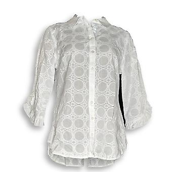Isaac Mizrahi Live! Kvinner ' s topp øye ruffle ermet bluse hvit A306753