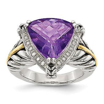 925 Sterling Silver Med 14k Ametist och 1/10ct Diamond Ring Smycken Gåvor för kvinnor - Ring Storlek: 6 till 8