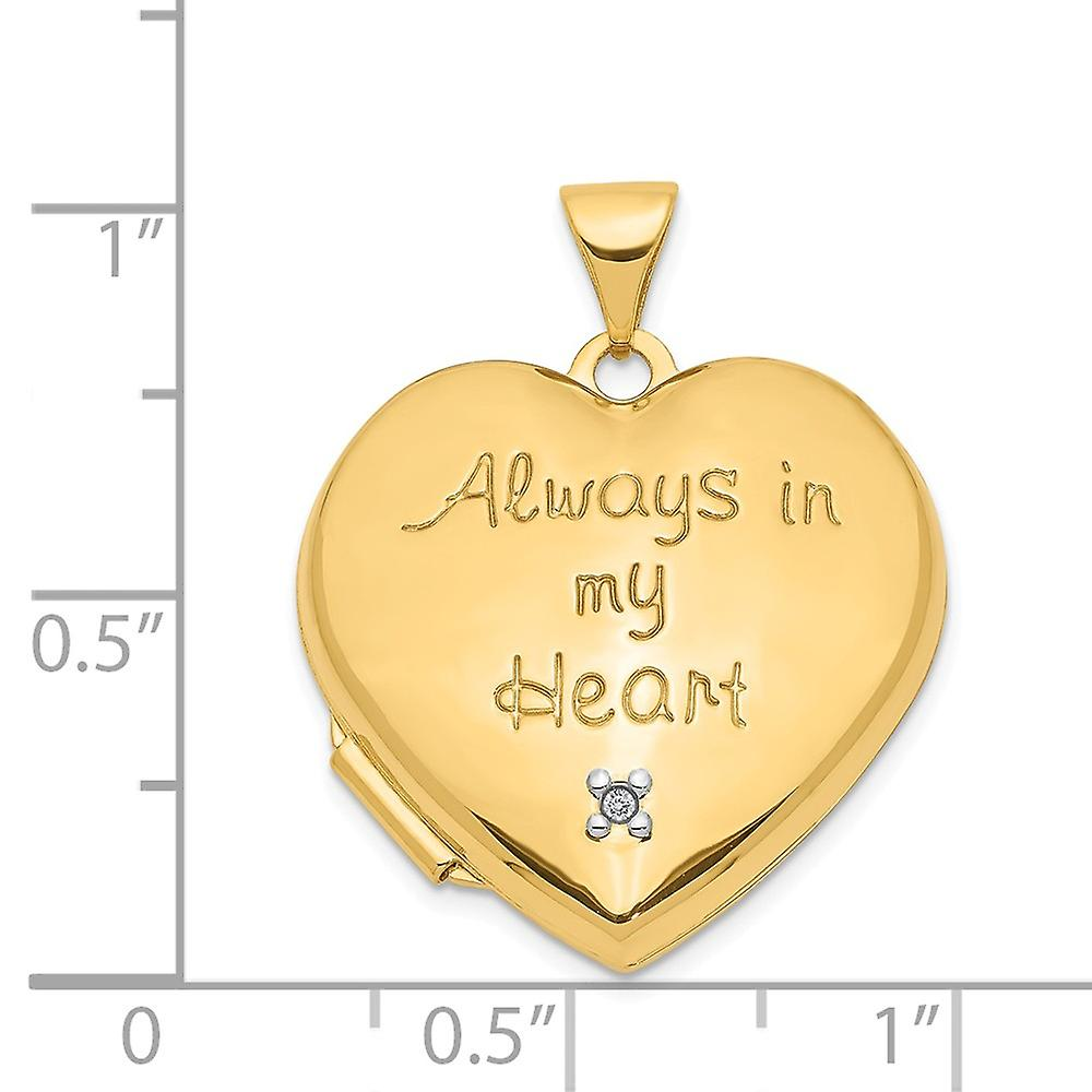 14k Yellow Gold 21mm Love Heart With Diamond Locket (heart Charm Pendant Necklace Inside Locket) Jewelry Gifts for Women