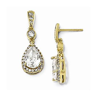 14k Gold Plated 925 Sterling Silver Pear CZ Cubic Zirconia Simulated Diamond Dangle Post Earrings Jewelry Gifts for Wome