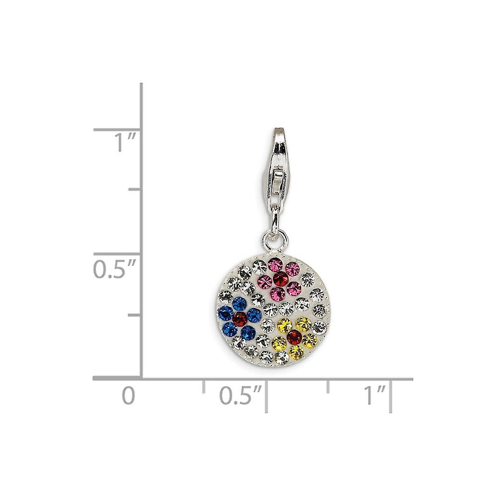 925 Sterling Silver Rhodium plated Fancy Lobster Closure Multicolored Crystal Flower Disc With Lobster Clasp Charm Penda