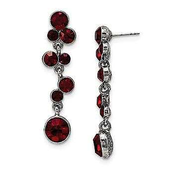 Silver tone Red Crystal Post Long Drop Dangle Earrings Measures 47x11mm Wide Jewelry Gifts for Women