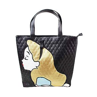 Alice in Wonderland Tote Bag Alice Kiss Logo new Official Disney Black Quilted
