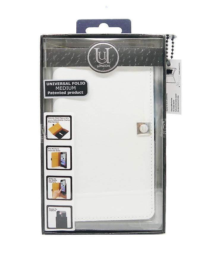 Medium Universal Slider Leather Folio White