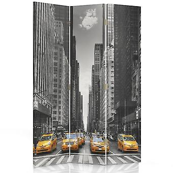 Divisor de habitaciones, 3 paneles, doble cara, 360o giratorio, lona, taxi de Nueva York