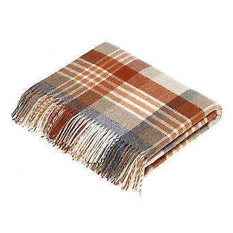 Bronte By Moon Melbourne Check Pure New Wool Throw - Saffron