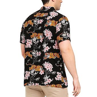 Brave Soul Mens Khan Short Sleeve Button Down Floral Shirt Top - Black/Multi