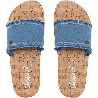 Animal Womens kungliga casual Summer slip på stranden flip flops sandaler-denimblå