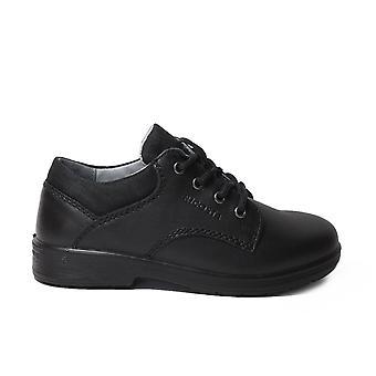 Ricosta Harry Medium Fit Negro Cuero Niños Encaje Zapatos Escolares