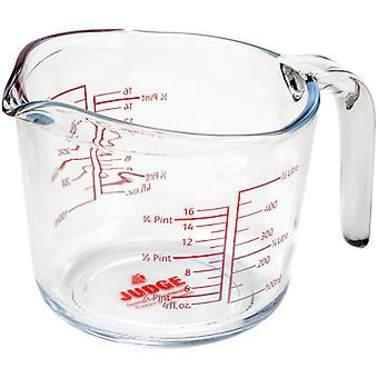 Judge Kitchen, Glass Measuring Jug, 500ml - Red Scales