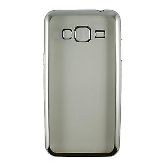 Runko Samsung Galaxy J3 (2016) läpinäkyvä pehmeä hopea ääriviivat - liotettu lasi