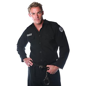 Police Officer Deluxe Cop Policeman Uniform Adult Mens Costume Shirts Top OS