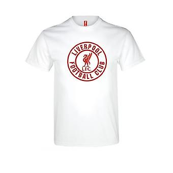 Liverpool FC Adults White T Shirt With Team Crest