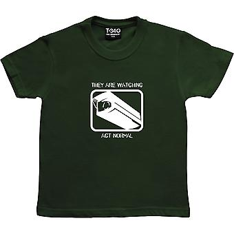 They Are Watching: Act Normal Racing Green Kids' T-Shirt