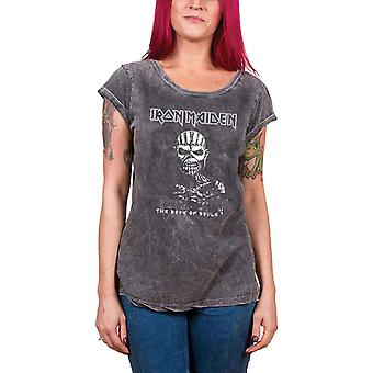 Iron Maiden T Shirt Book of Souls Official Womens New Acid Wash Skinny Fit