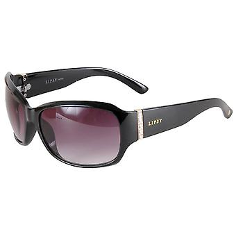 Lipsy London Rectangle Wrap Sunglasses - Shiny Black