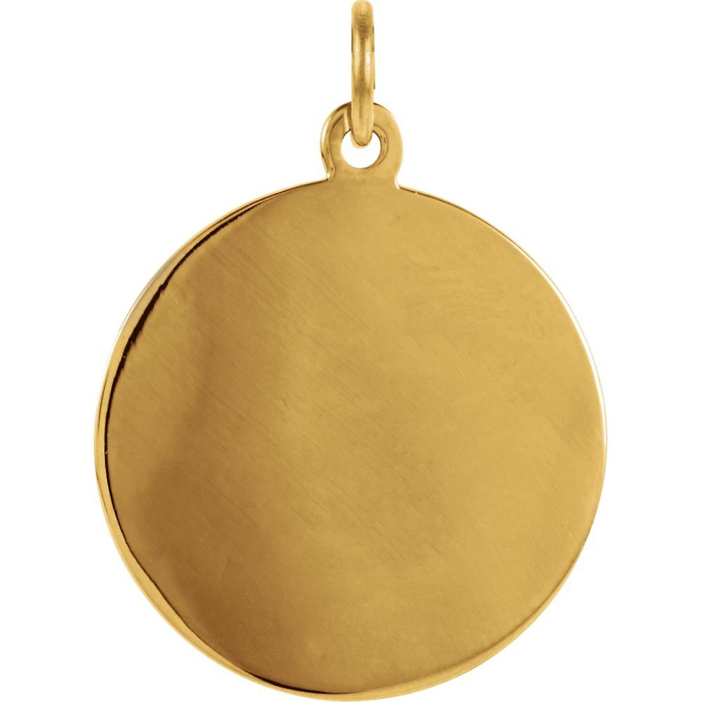 Pendant Necklace 14k Yellow Gold 18mm Polished Round St. Florian Medal Jewelry Gifts for Women