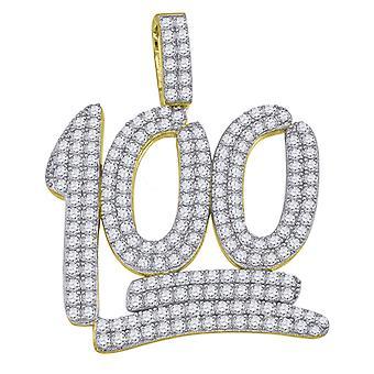 イエロートーン 925 スターリング シルバー メンズ CZ キュービックジルコニア シミュレートダイヤモンド番号百のチャーム ペンダント ネックレス ジュエリー G