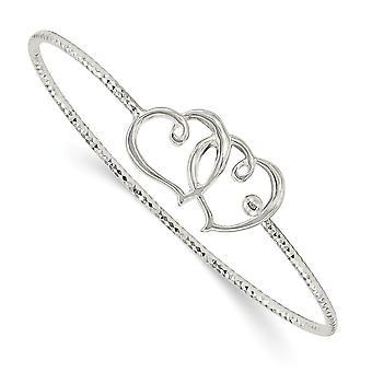 1.75mm 925 Sterling Silver Sparkle Cut Double Love Heart Interlocking Cuff Stackable Bracelet Bracelet Bijoux Cadeaux pour W