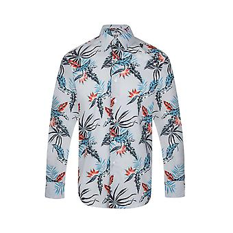 JSS Floral Azul Regular Fit 100% Camisa de Algodão