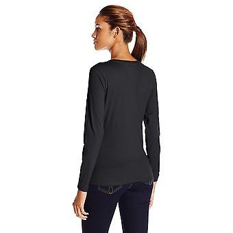 Hanes Women's Long Sleeve Tee, Ebony, Medium, Ebony, Size Medium