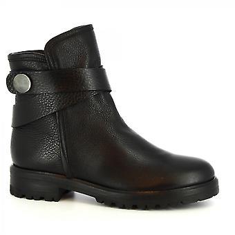 ليوناردو أحذية النساء & s أحذية الكاحل المصنوعة يدويا في الجلد الأسود الجانب الرمز البريدي الفراء داخل