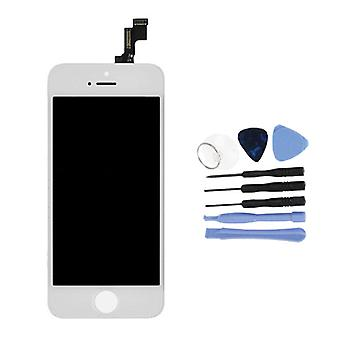 Ting sertifisert® iPhone SE / 5S-skjerm (berøringsskjerm + LCD + deler) AA + kvalitet - hvit + verktøy