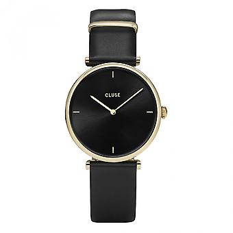 Cluse Watches Cl61006 Triomphe Gold And Black Leather Watch