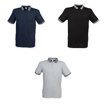 Skinnifit Mens Fashion Short Sleeve Polo Shirt With Jacquard Contrast
