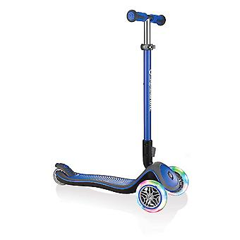Globber Elite Deluxe Lights Anodised T-Bar Foldable Scooter Azul