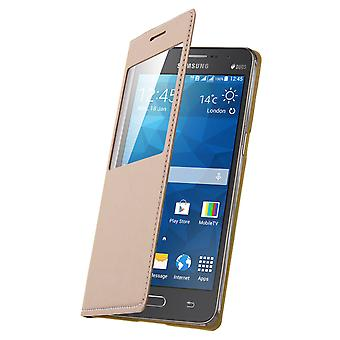 Flip Book cover, wallet case with stand for Samsung Galaxy Grand Prime - Gold