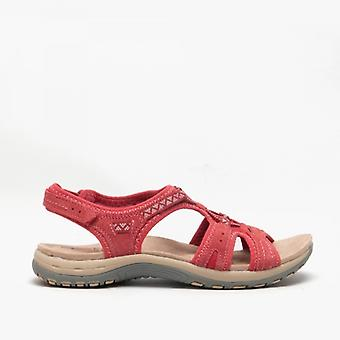 Earth Spirit Fairmont Ladies Suede Sandals Rich Red