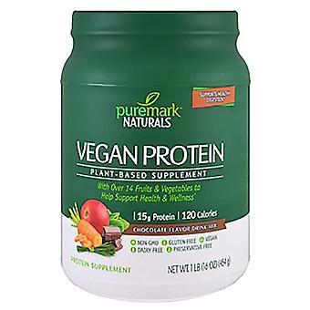Puremark naturals vegan protein, plant-based, chocolate flavor, 16 oz