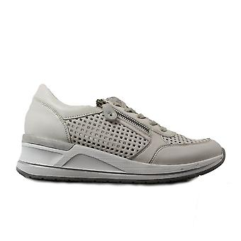 Remonte D3200-80 White Leather Womens Lace/Zip Up Trainers