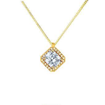 Colier cu pandantiv cu diamante sintetice - pătrat - aur