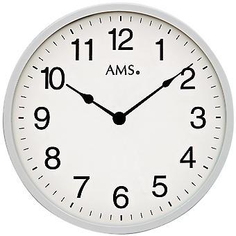AMS 9493 wall clock kvartsi analoginen hopea pyöreä vain hyvin tasainen